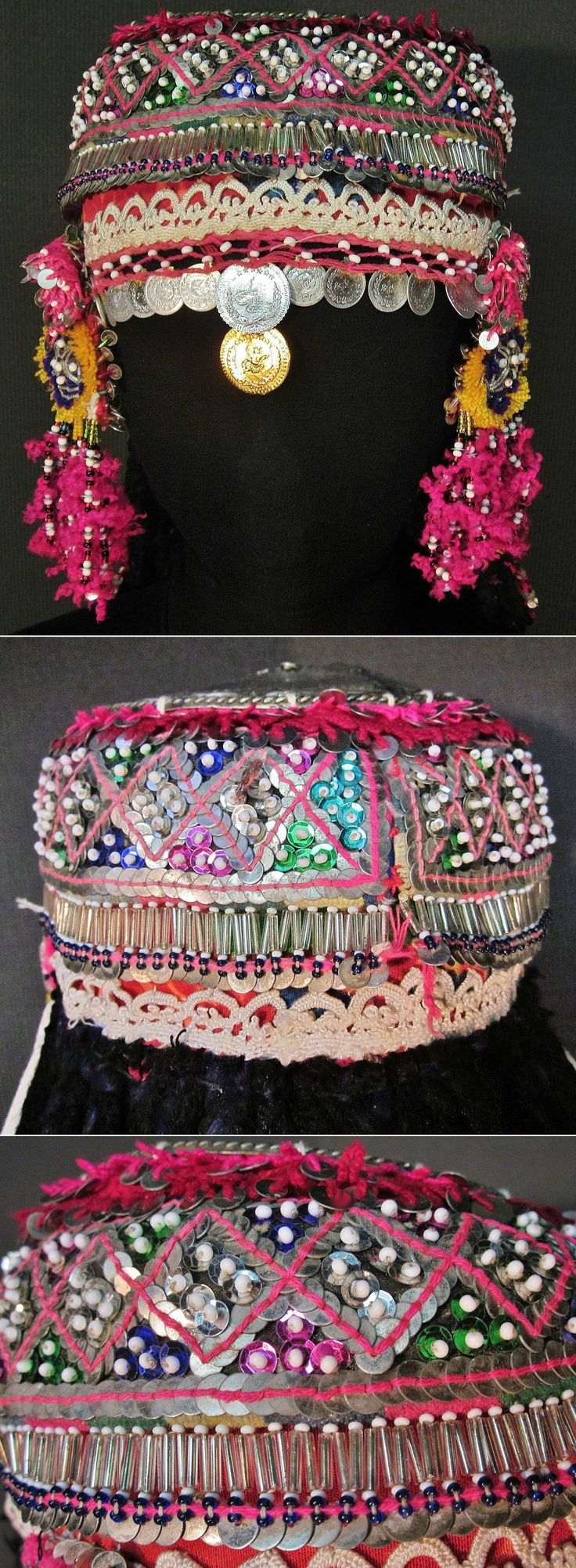 Front, rear and close-up of a traditional festive cap for 'genç kız' (= not yet betrothed girls). From the Pomak villages near Biga (Çanakkale prov.), mid-20th c.  Adorned with different types of glass beads, metal (imitation) Ottoman coins, (cotton or orlon) pom-poms and sequins (both metallic and mica).   (Inv.nr. ba$034  - Kavak Costume Collection - Antwerpen/Belgium).