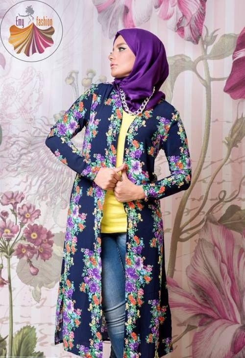 printed long kimono cardigan, Long kimono hijab by Emy fashion http://www.justtrendygirls.com/long-kimono-hijab-by-emy-fashion/