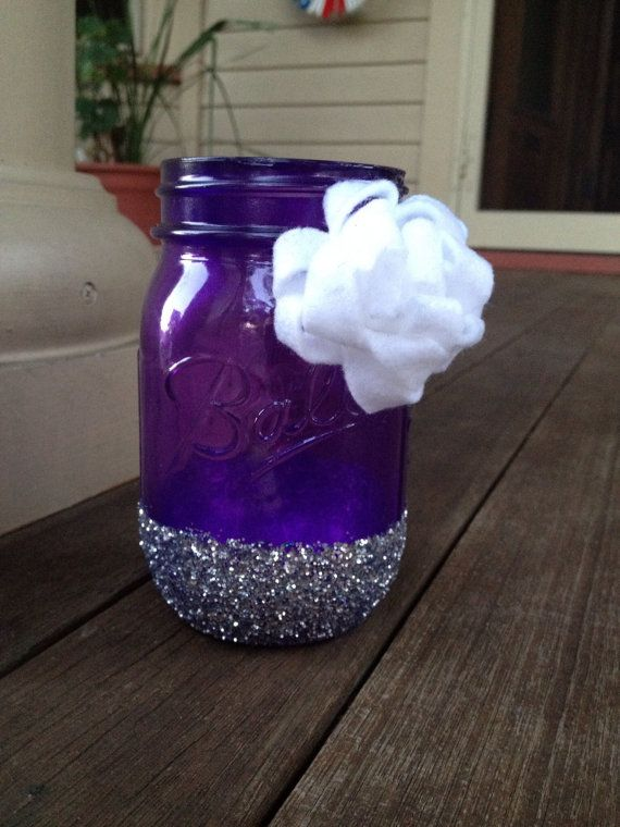 Items similar to Translucent Purple Mason Jar with Silver Glitter and White Felt Flower on Etsy