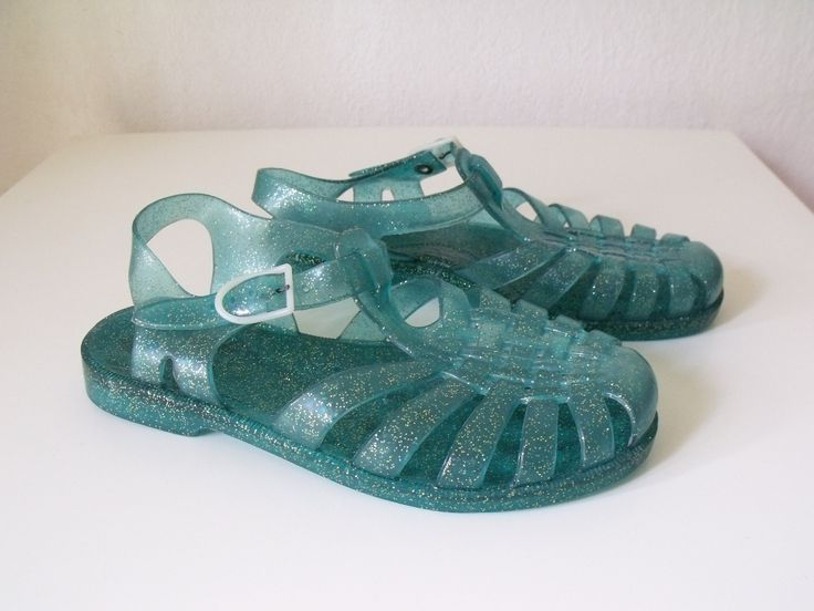 Vintage Shoes | Vintage Jelly Shoes - 1980's Sandals - Beach Sandals - Turquoise- Size ...