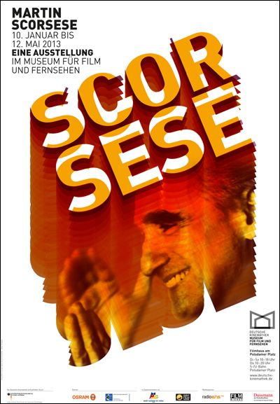 Poster for the exhibition 'Martin Scorsese' at the Deutsche Kinemathek, designed by Justus Oehler.