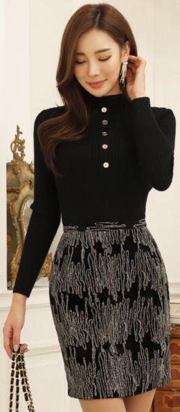 StyleOnme_Embroidered Velvet H-Line Skirt #black #velvet #pencilskirt #koreanfashion #kstyle #kfashion #dailylook #seoul #wintertrend