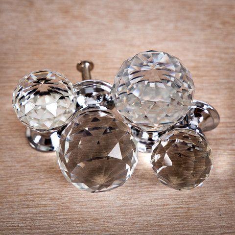 Crystal Round Cut Knob Small (25mm) R39 Each Med (35mm) R59 Each