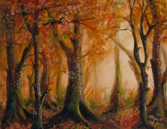 Original painting autumn landscape forrest acrylic on by Pilipart, $150.00