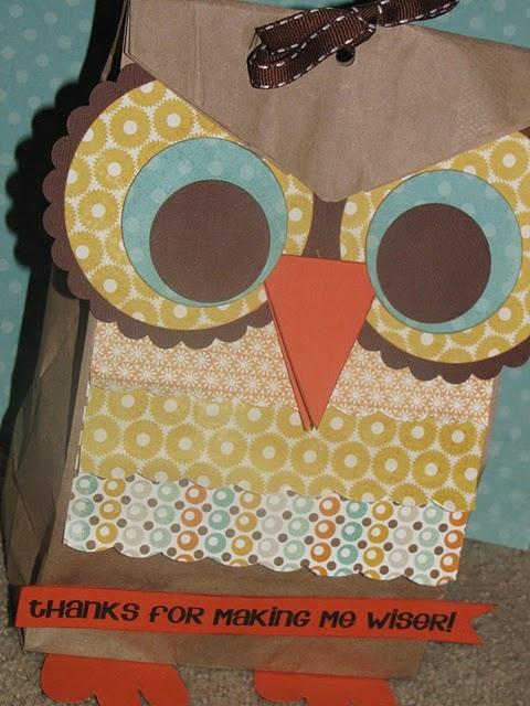 teacher gifts: Teacher Gifts, Treats Bags, Teacher Appreciation, Gifts Bags, Gifts Ideas, Paper Bags, Owl Treats, Owl Bags, Owl Gifts