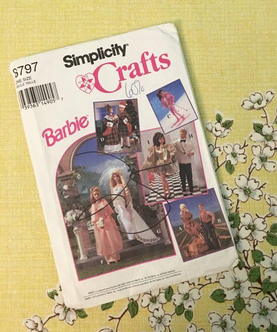 Vintage Simplicity Barbie Wardrobe Pattern 8797 Uncut