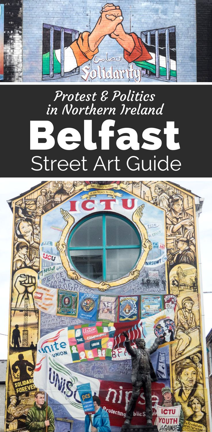 See sectarian, edgy and political street art in Belfast Northern Ireland. Black Cab Tour | Self Guided tour | The Troubles | Peace Wall | Travel #ireland #northernireland #streetart #belfast
