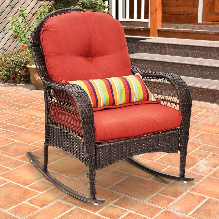 Costway Outdoor Wicker Rocking Chair Porch Deck Rocker Patio Furniture w/ Cushion, Multi (Rattan)