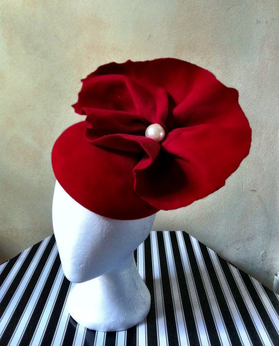 Christmas Poppy Red Cocktail Hat