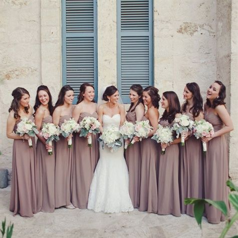 light pink, neutrals. I love everything about this. Bridesmaid dresses, colors, and the brides wedding dress!