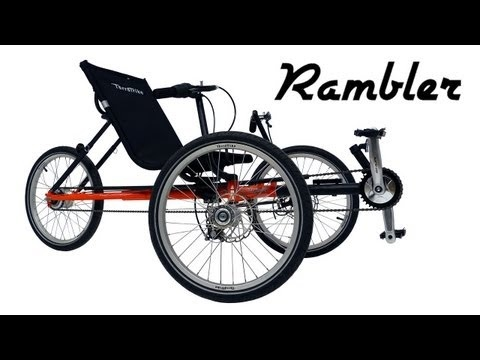 The Rambler Try It You'll Love It !!!  Watch the Terra Trike company video... & test ride a recumbent tricycle for the most comfortable ride ever!  Adjustable for size may be custom fit for disabled.  Tandem trikes available, too.  Delivered fully assembled.  Now available in new fat tires.