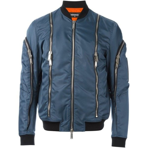 Dsquared2 zip detail bomber jacket ($1,365) ❤ liked on Polyvore featuring men's fashion, men's clothing, men's outerwear, men's jackets, blue, mens blue leather jacket, mens blue jacket, mens leather jackets, mens short sleeve jacket and mens leather bomber jacket
