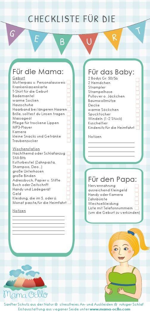 Kliniktasche packen für Mama, Papa u. Baby