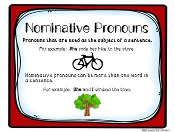 https://www.teacherspayteachers.com/Product/Nominative-Objective-Possessive-Pronouns-3407542  This is a resource to help students practice differentiating nominative, objective, and possessive pronouns.
