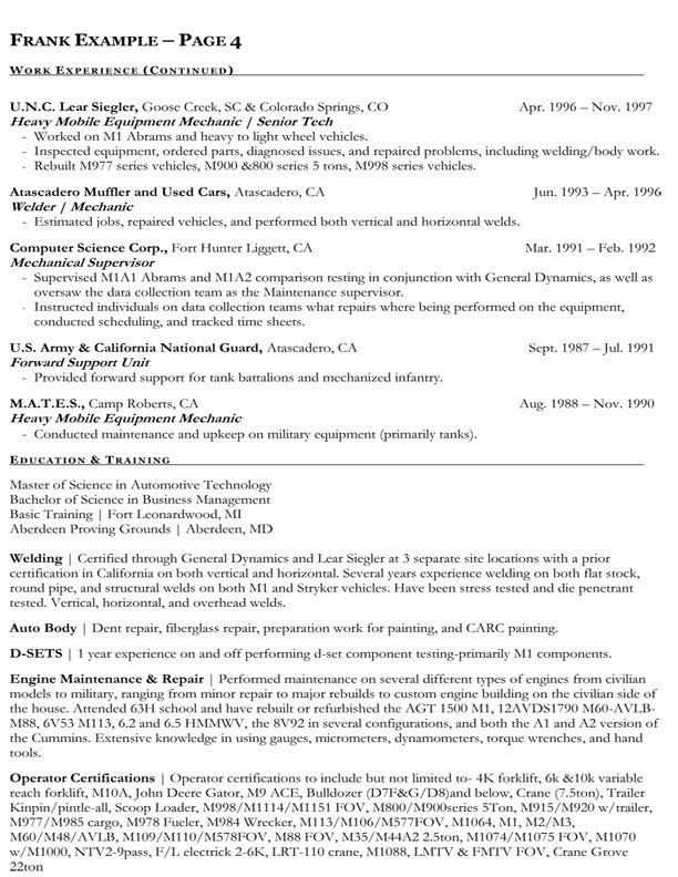 Best 25+ Sample resume format ideas on Pinterest Free resume - auto mechanic sample resume