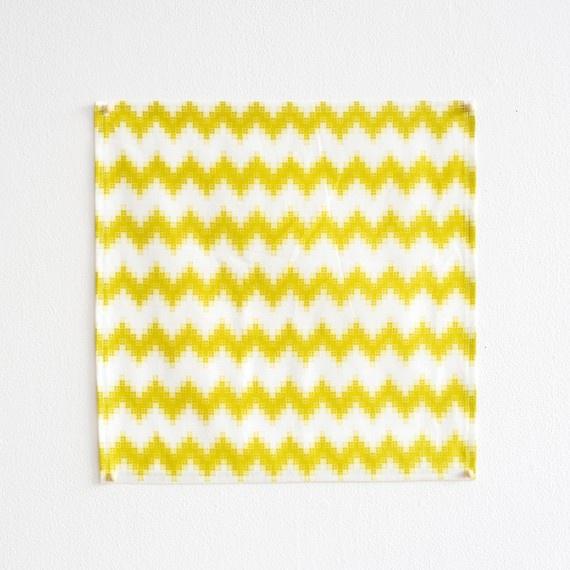 Bright yellow pixel chevron striped napkins from Pigeon Toe Ceramics via Decor8