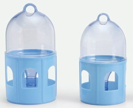 """A really handy small drinker with the added benefit of an upper tank that is clear. This clear tank allows you to know exactly how much liquid is left without having to handle it. Ideal for use in individual cages, breeding boxes, or """"sick bay"""". Finger hole in the top allows you to carry with ease.  #pigeon supplies"""