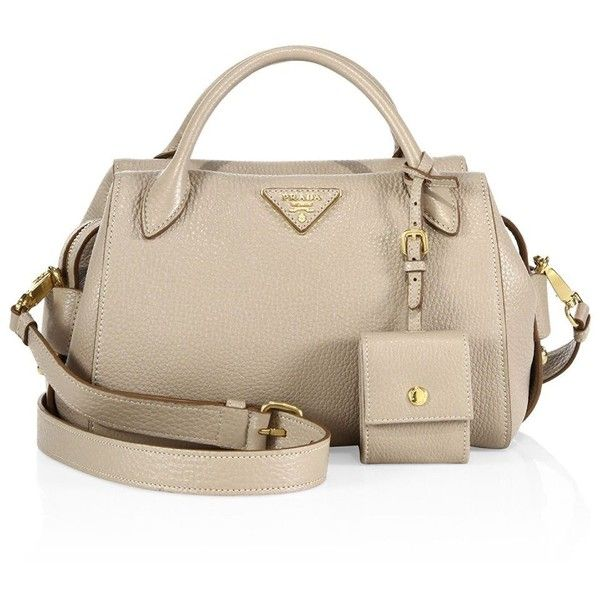 Prada Pebble Leather Satchel ($1,730) ❤ liked on Polyvore featuring bags, handbags, man pouch bag, handbag satchel, pink satchel purse, man satchel bag and man bag