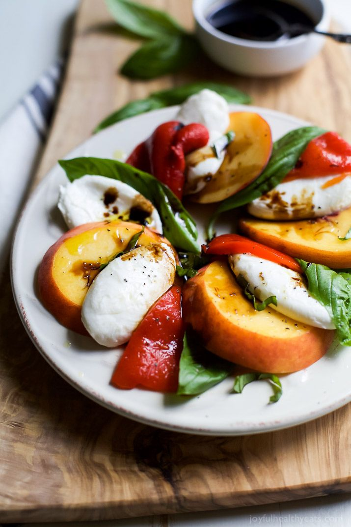 Pepper and Peach Caprese with Balsamic Reduction. It's so easy to make ...