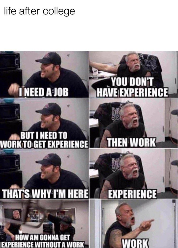 Funny Memes We Want 5 Years Of Professional Experience For This Entry Level Job We Want 5 Mydailylol Com Memes Funnymemes Work Memes Funny Memes Memes