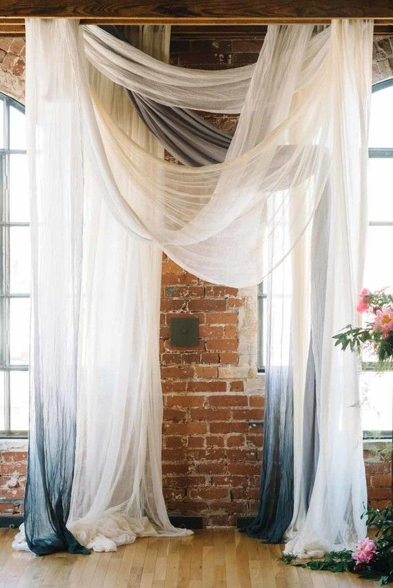 Sheer, colored and ombre drapery for ceremony 'altar' (becomes photo booth background?)