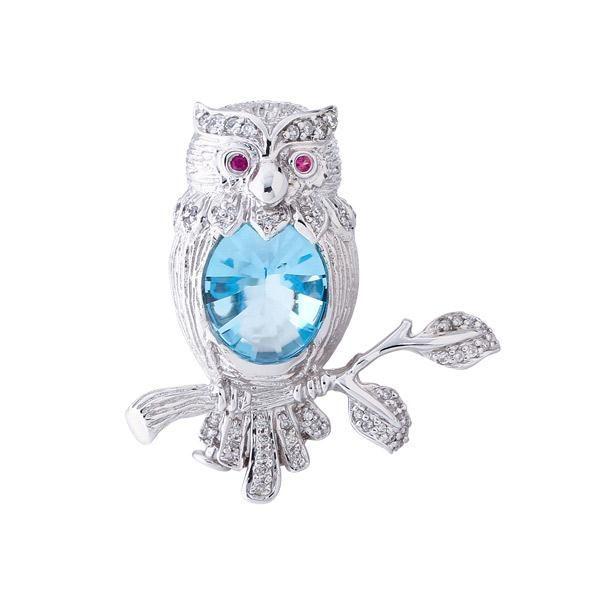 Broche Coruja de Ouro com Topázio Azul, Rubis e Diamantes: Gemas Brasileiras: Topázio