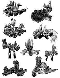 ヴィンテージ帽子クリップアート、黒と白のグラフィックス、ビクトリア朝の女性の帽子、昔ながらの帽子イラスト、ビクトリア朝の婦人ファッション