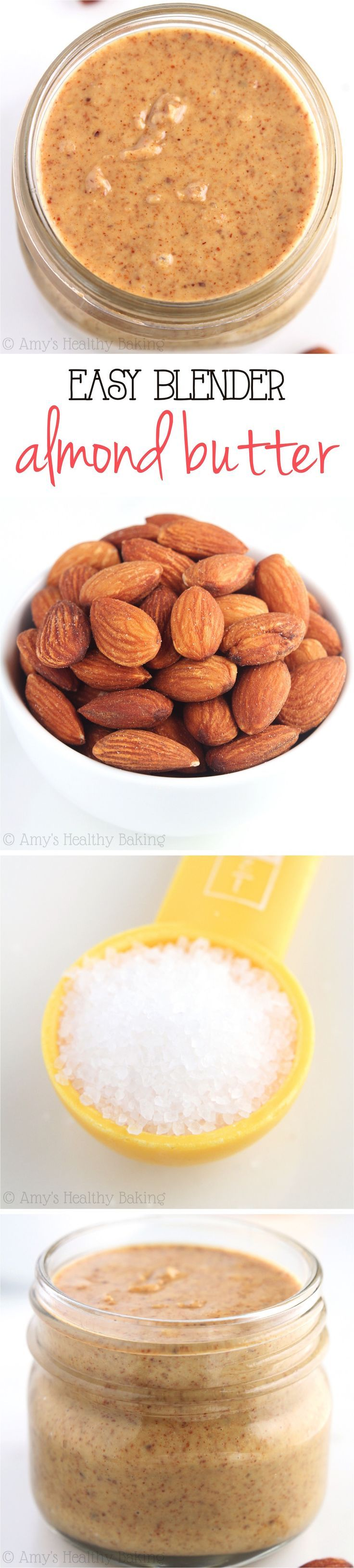 Easy Blender Almond Butter -- you just need 2 ingredients & 10 minutes! This tastes SO much better than store-bought for half the price!
