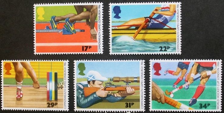 13th Commonwealth games stamps, rowing, hockey, GB, 1986, SG ref: 1328-1332, MNH #RoyalMail