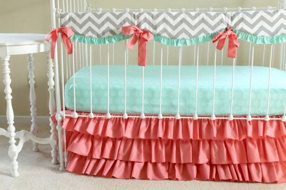 New Bumperless Sweet Sorbet Crib bedding set!    This listing is for the 3 piece set including:    Ruffle teething rail cover in grey chevron