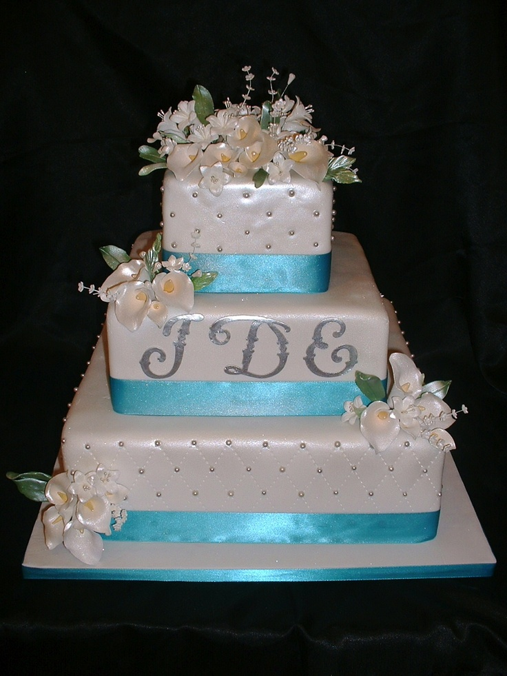 White Turquoise Wedding Cake With Silver Monogram By Ercup Cakes