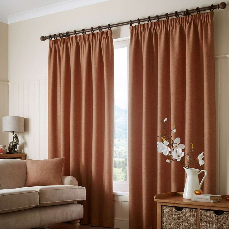 Paxton Rust Pencil Pleat Curtains | Dunelm