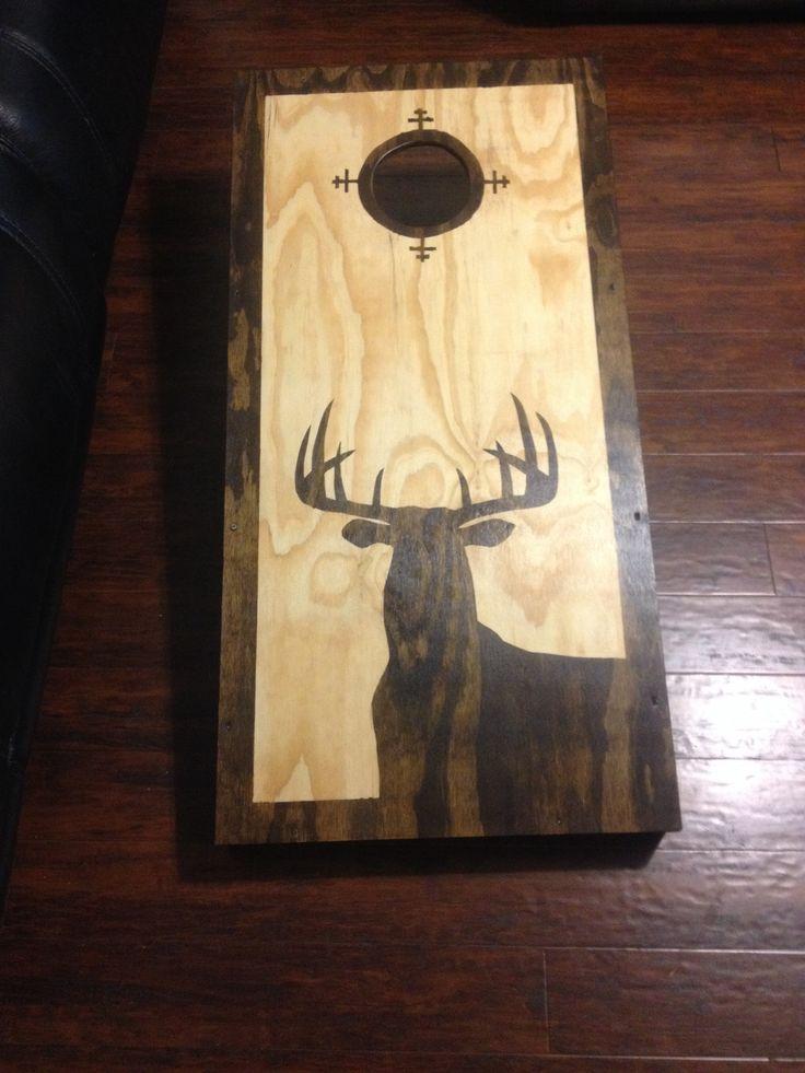 Buck silhouette cornhole boards