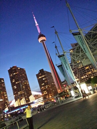 Toronto's Harbourfront area...view of CN Tower...by night