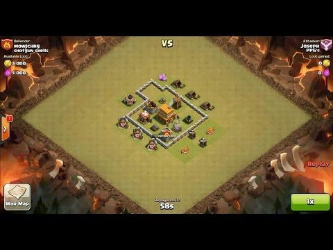 Clash of Clans TH4 vs TH4 Giant, Archer, Barbarian & Goblin Clan War 3 Star Attack ⋆ Clash of Clans 3 Stars Clan Wars