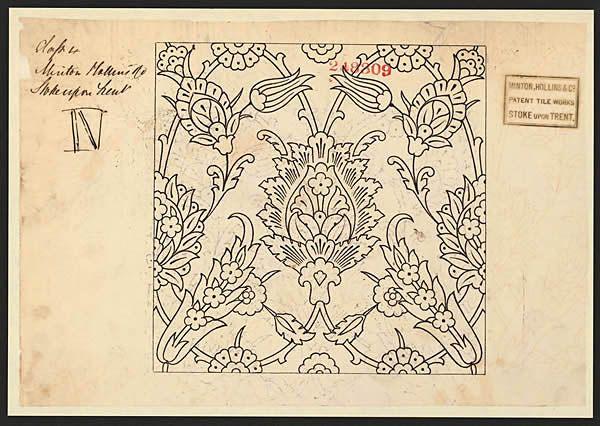 248309 - Minton Hollins & Co - 05 December 1870 -  Pattern for a tile in black