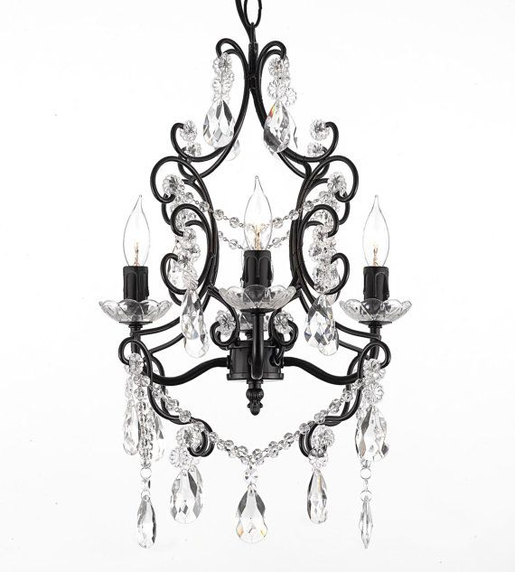 28 best mini style 1 light flush mount crystal chandelier images gallery wrought with crystal wrought iron crystal 4 light black chandelier pendant with faceted crystal balls hardwire and plug in aloadofball Image collections