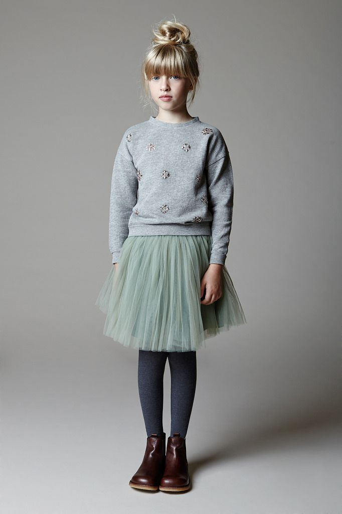 Embellished sweatshirt, mint tulle skirt, grey tights, brown ankle boots