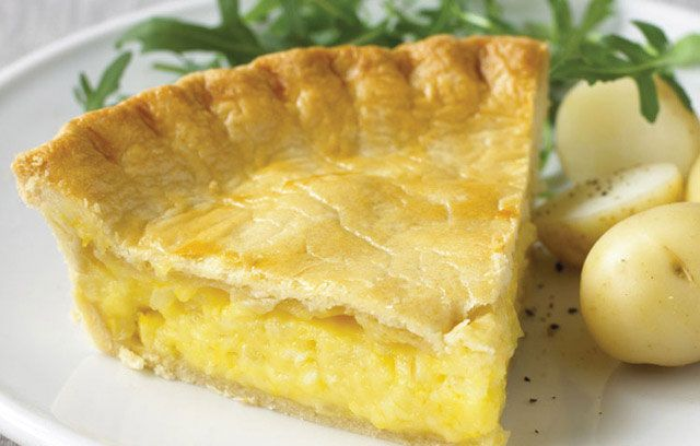 Cheese and Onion Pie. Simple but delicious. Mix Cheddar and Caerphilly for the filling.