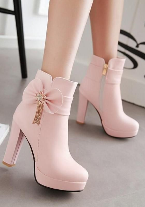 Neue Frauen Pink Round Toe Chunky Bow Fashion Martin Stiefel