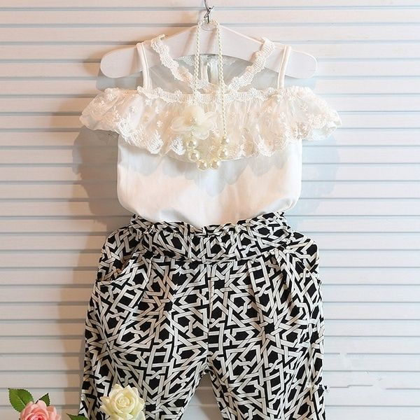 Newborn Baby Girls Summer Lace Dress Tops+Panties Pants Outfits Clothes Set
