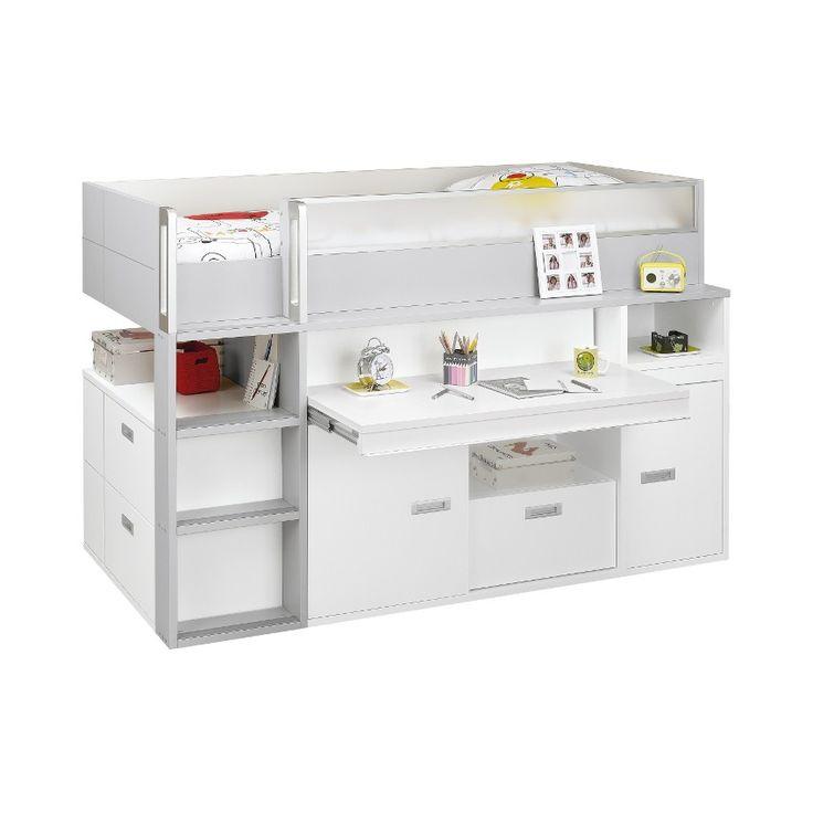 Gautier hoogslaper bureau dimix wit grijs hoogslaper met bureau bunk bed with desk - Loft bed met opbergruimte ...