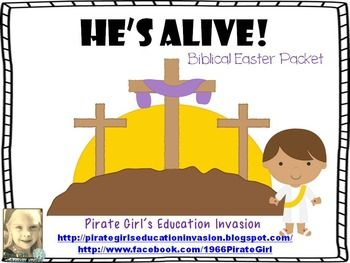 Celebrate the true meaning of Easter with this Biblical Easter Packet. It contains 38 pages and 10 activities....He's Alive! book to laminate and share with your students.He's Alive! students booklets (1/2 size)Reading comprehension sheet,Sentence building activity with recording sheet and answer key,Word building activity with recording sheet,5 Writing pages (Palm Sunday, Last Supper, Good Friday, Resurrection, blank copy),Word search and answer key,3 crosses coloring sheet,Isaiah 53:5…