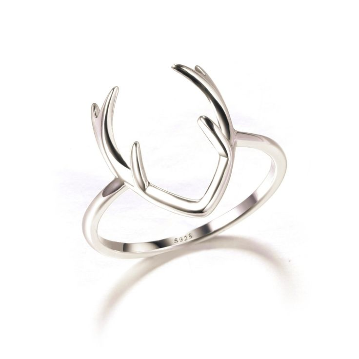 Rắn 925 Sterling Silver Sliver Nhẫn Deer Antler Trang Sức Thời Trang Deer Antler Ring Trong Bạc Trang Sức Thời Trang Miễn Phí Vận Chuyển