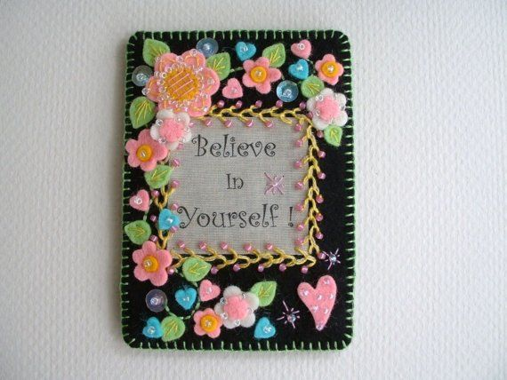 Embroidered Felt Applique Aceo