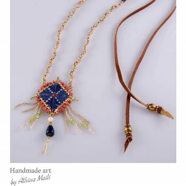 Talisman necklace. Hand embroidered. Leather and precious stones. Lapis lazuli and hand knitted cords.