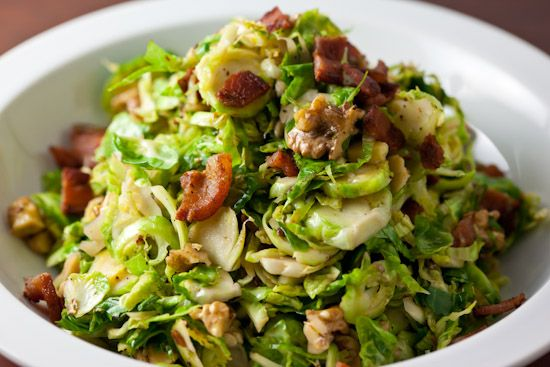 Lunch 4/10/12 - Brussels Sprout Salad --- Holy cow! Our first taste of brussels sprouts is truly impressive.  These things look like little cabbages and taste/smell like broccoli stalks. This warm recipe with the bacon and pine nuts (which i substituted from walnuts) is a real winner.
