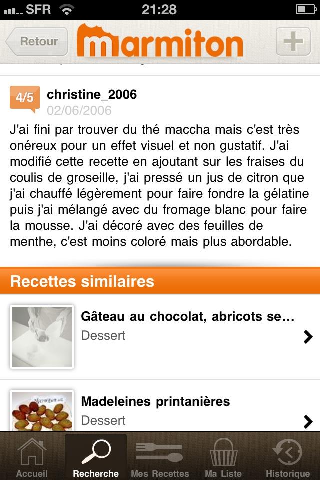"""Screen """"Recherches"""", commentaires associés à la recette + recettes similaires, application Marmiton"""