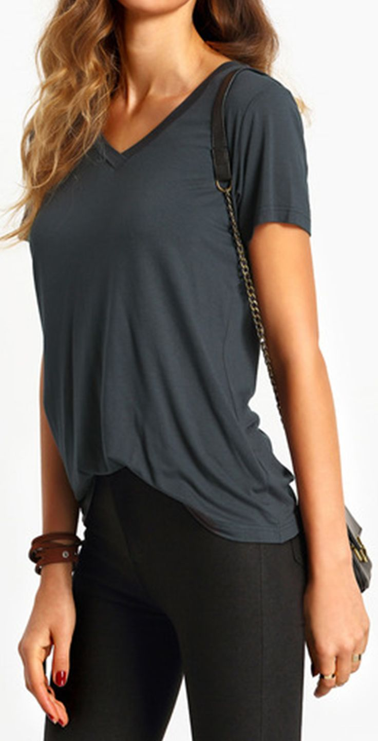 Nice & casual shirt. I got a small and it fits loosely .The material is soft and cool. Has stretch, true to size. Dark Grey V Neck Short Sleeve Casual T-shirt fromshein.com.
