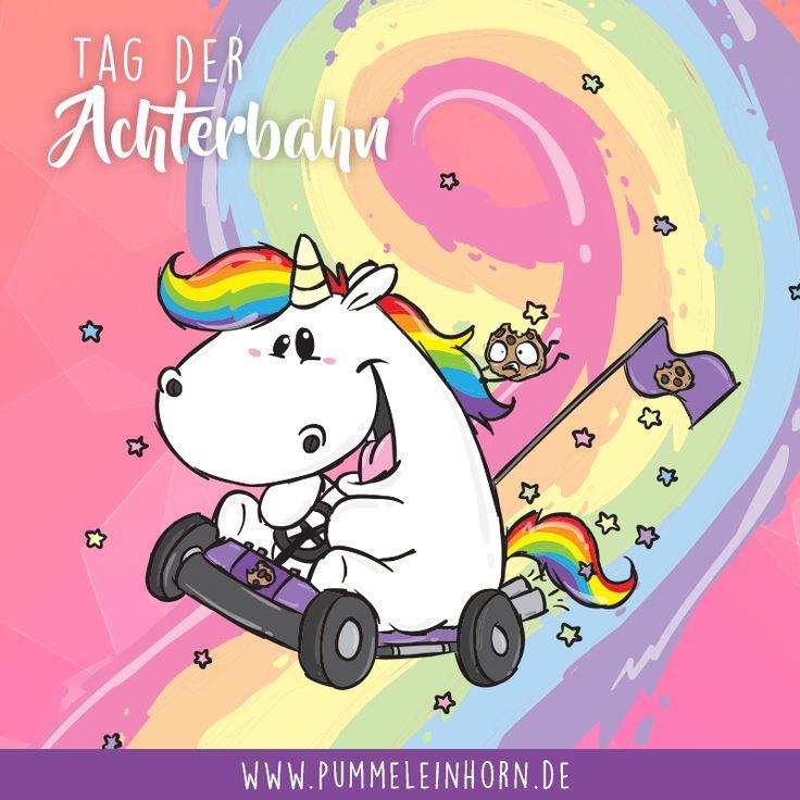 Tag der Achterbahnen🌈 Mal schauen, ob Pummel die #Regenbogenstrecke schafft 😍 #pummeleinhorn #rollercoaster #achterbahn